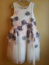 *NEW* NANETTE LEPORE OFF WHITE WITH PINK & GRAY ROSETTES TULLE DRESS - SIZE 10