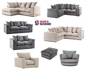 New Stone Linen fabric double Corner Sofa 3 2 Seater Grey Cream Armchair Swivel