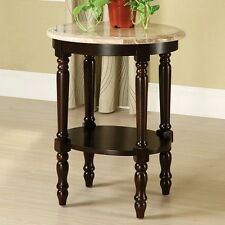 Furniture of America Dehaven Round Marble Top Side Table - Dark Cherry NEW