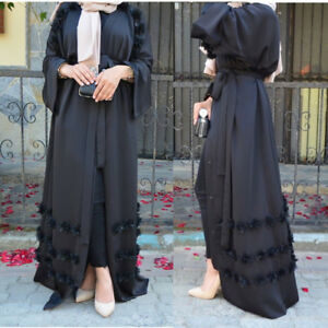 Elegant Women Flower Dress Dubai Abaya Cardigan Muslim Arab Robe Islamic Kaftan