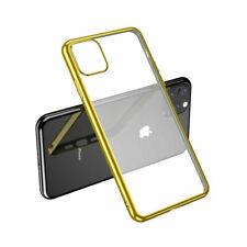 Para iPhone 11 Pro-claro caso de silicona con borde dorado