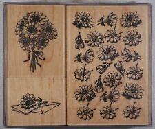 card making rubber wooden ink stamp set crafts kodomo japan - daisies