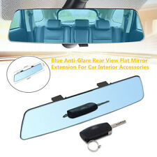 Blue Anti-Glare Rear View Flat Mirror Extension Widely Vision For Car Interior