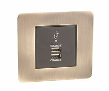 USB Mobile/Tablet Charging Module 2A In Screw Less Antique Brass Wall Plate