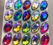 20 Oval Sew On Glass Crystals SILVER Claw Rhinestone Gems RAINBOW AB 10*14mm