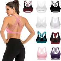 Cross Back Padded Sports Bra Tops Vest Gym Fitness Yoga Running Breathable Tank