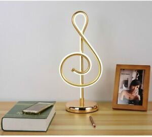 LED Table Lamp Three-color Dimming Musical Note Shape Desk Light Aluminum Gift