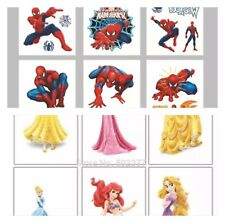 25 Childrens Disney Princess Spiderman Temporary Tattoo Kids Party Bag Filler Uk