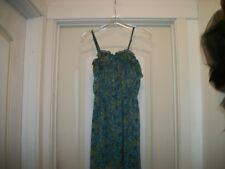 MOSSIMO X S GREEN W TINY COLORED FLORALS SWEETPIE SUNDRESS W RUFFLES