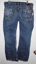 AMERICAN EAGLE Destroyed Distressed Paint Spattered Blue Jeans 30Lx35W Men's