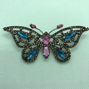 Avon Vintage 1999 Fashion Butterfly Pin Broach Silver Tone Purple Blue Stone New