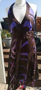 Ladies Monsoon Black, blue,  86% Silk Halterneck Dress Size 12 Lined Stunning