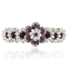 Clear White & Purple Crystal Rhinestone Plum Flower Gold Tone Barrette Hair Clip