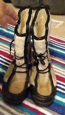 Rare Vintage Yodelers Platform Lace Up Off White Boho Hippie Boots Womens Sz 7.5