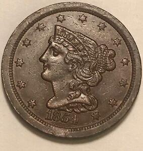 1854  HALF CENT  , AU, scarce date