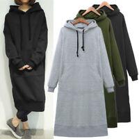 Mode Femme Sweats à capuche Casuel Manches longues Droit Jupe Robe Maxi Plus