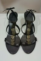 ZARA womens LEATHER sandals size 38 5 ladies summer high heel shoes chic brown