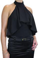 NEW (4075-1) Halterneck Top Bodycon Ruffle Bodysuit Black 8-14