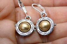 New Brighton Wisdom Silver & Gold Charm On Custom Lever Back Earrings
