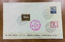 {BJ Stamps} 1936 Hindenburg Zeppelin cover LZ 129 Olympic flight Si 427Ba w/ B90