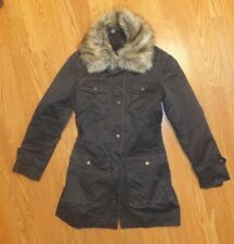 United Color of Benetton Coat Winter Jacket with Faux Fur Collar Brown  Women XS