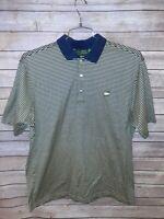 Amen Corner Masters Golf Polo Mens Large Short Sleeve T Shirt Blue Yellow EUC