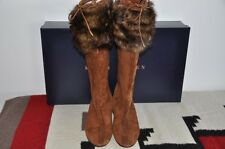 Ralph Lauren Collection PURPLE LABEL Suede Leather Shearling Boots 9 B