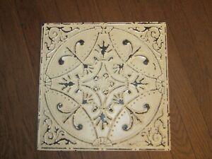 "Vintage Style Ivory Cream 14"" Square Ceiling Tin Metal Wall Decor Art Farmhouse"