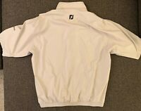 Dryjoys By Foot Joy Mens Pullover 1/4 Zip Button up Size M Creme.