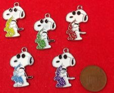 """Set of 5 X Snoopy The Dog (Charlie Brown) Enamel Metal Charm Pendants 5 Colours"