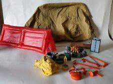 vintage action man survival base camp set tent fire log tools