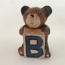 NEW PRICE Teddy Bear Wood Hand Carved Painted Vintage Holding Block Smiling