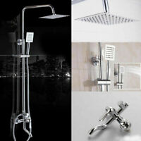 "US Chrome 8"" Rain Shower Head 3-Way Mixer Valve Handheld Spray Shower Faucet Set"