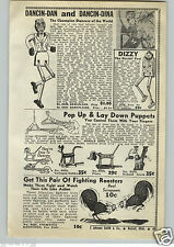 1940 PAPER AD Dancing Toy Dan Dina Pop Up Lay Down Puppets Pluto Donald Duck