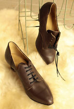Vintage 60´s Original Lace up Ladies brown leather Shoes, new ! 23,5 / UK size 4