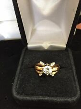14K GOLD DIAMOND ENGAGEMENT WEDDING  RING GUARD SZ 7  SOLITARE SOLD SEPERATLY