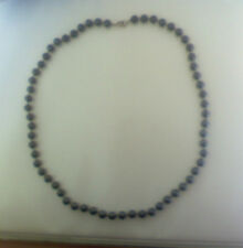 PEARLS,NECKLACE, BLACK  WITH MATCHING EARRINGS,MORE OF A SILVER-GREY COLOR