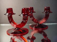 Rare Pair Fostoria Glass Art Deco Radiant Red Duo Candlestick 2447 Elegant Glass