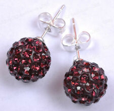 Fashion CZECH CRYSTAL Disco Ball BEADS & SILVER STUDS Earring Choose Colors 10MM