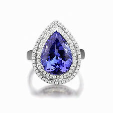 SOLID 18K WHITE GOLD NATURAL STUNNING BIG BLUE TANZANITE FULL CUT DIAMOND RING
