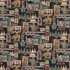 A015 Native American Teepees Bears Fish Pottery Tapestry Fabric By The Yard