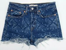 New Levis Womens Wedgie High Rise Stretch Denim Raw Hem Jeans Shorts 27