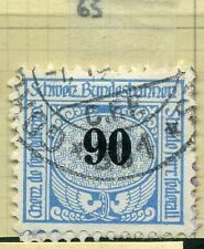 SWITZERLAND;  1913-30s early RAILWAY PARCEL stamp fine used  90c. Type  65