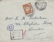 H 406 Unstamped  1947 cover from Hawick to Dundee; 5d postage due stamp