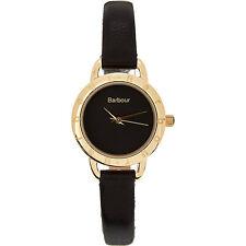 Nuevas damas Regalo Barbour Lismore negro y oro genuino cuero reloj BB 009 BKBK