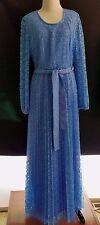 Vintage Blue Lace 80s Vintage Long Sleeve Pleated Medium Mid Calf Belted Dress