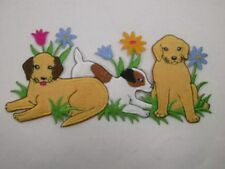 Puppy Dogs w Flowers Faux Fur Iron On Patch 7.5 In