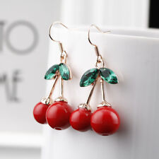 Women Jewelry Fashion Rhinestone Cherry Drop Earrings for Girl Party Accessories