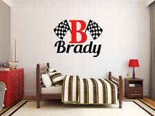 """Boys Name Checkered Flag Racing Monogram Wall Decal #2 Nursery Room 28"""" Tall"""