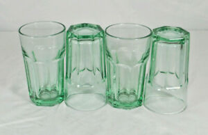4 Hard To Find Green Libbey Juice Glasses 4.5 inches Stamped Libby Duratuff USA